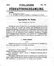 Die erste Seite der finnischen Verfassung auf Schwedisch.