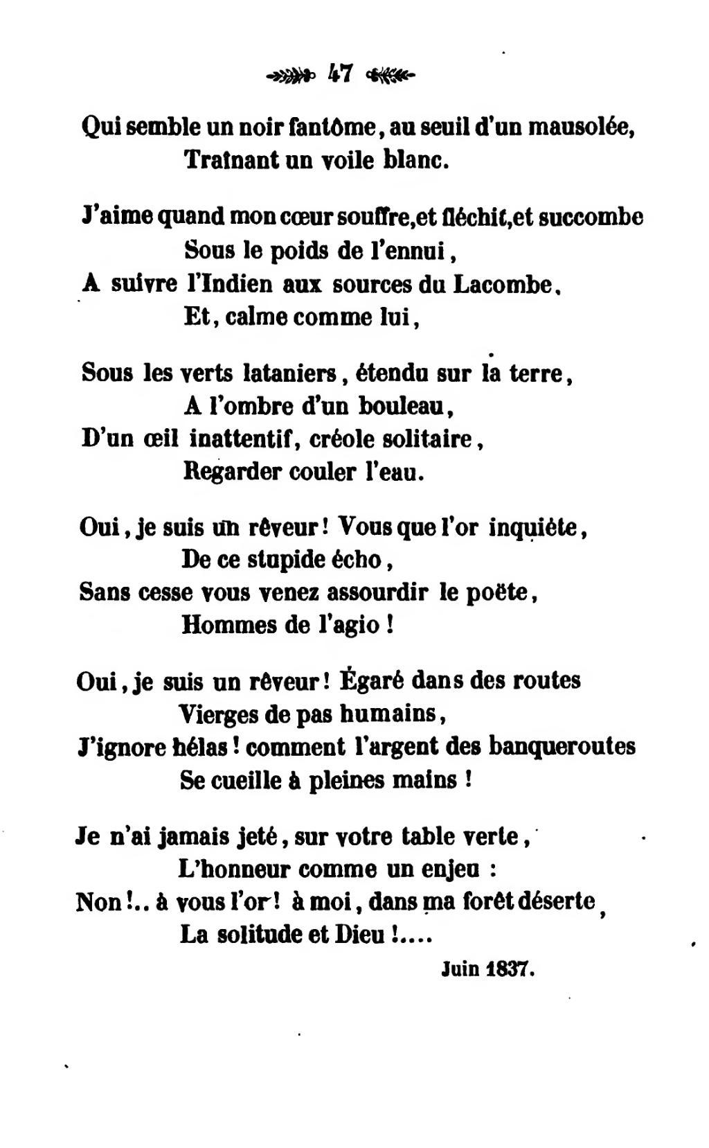 Je Suis Solitaire Et J'aime ça : solitaire, j'aime, Page:Rouquette, Meschacébéennes,, 1839.djvu/59, Wikisource