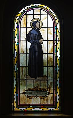 Saint Paul Catholic Church (Westerville, Ohio) - stained glass, arcade, Saint Elizabeth Ann Seton