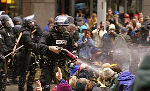 WTO protests in Seattle, November 30, 1999 Pep...