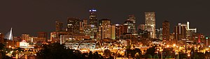 Denver skyline around midnight from I-25 and S...