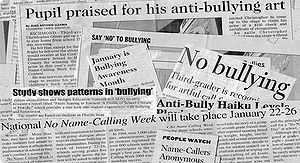the picture consist of articles on bullying, I...