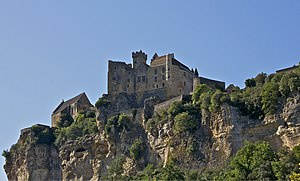 Castle of Beynac and chapel, on the top of the...