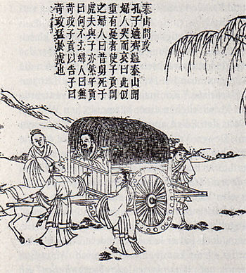 A Ming Dynasty print drawing of Confucius on h...