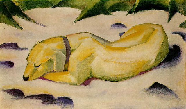 Image result for dog lying in the snow by franz marc