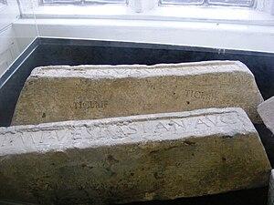 English: Lead ingots from Roman Britain on dis...