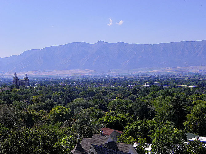 A partial view of Cache Valley, Utah, with the...