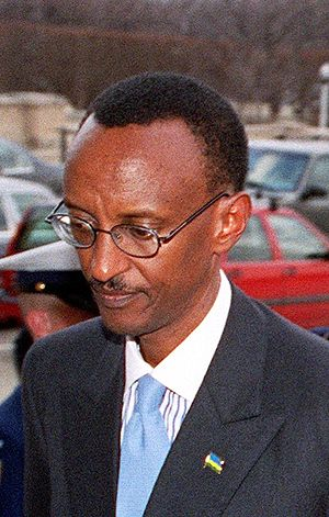 Rwandan President Paul Kagame on the way into ...