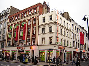 The venerable Foyles bookshop on the west side...