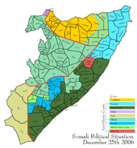 Map depicting the political situation in Somalia on December 25, 2006