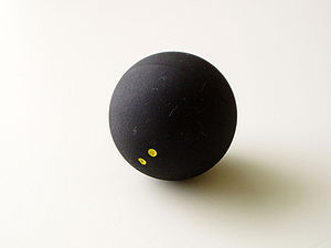 A double yellow squash ball.