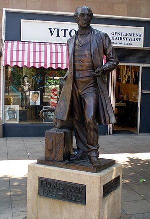 Statue of Thomas Cook near Leicester, England,...