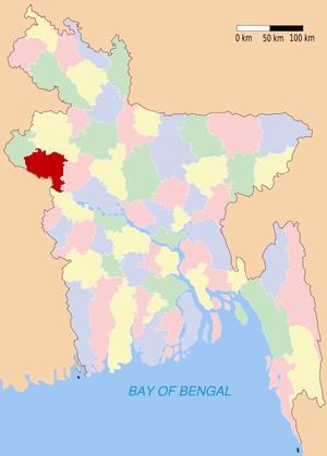 District locator map in red in Bangladesh