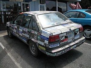Bumper sticker car parked in Santa Cruz, Calif...