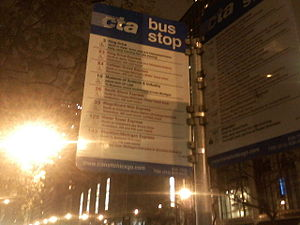 English: Detailed downtown Chicago bus stop sign