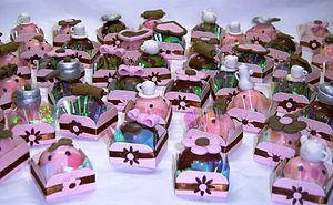 Chocolate truffles - pink and brown bridal sho...