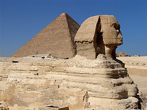 Sphinx and Great Pyramid of Giza Español: Esfi...