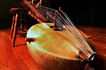 A kora; a harp-lute used by Mandingo peoples i...