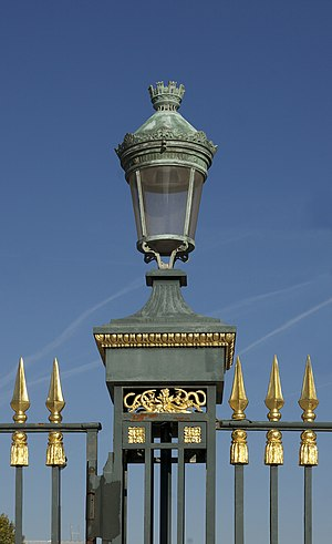 Lantern at the main entrance of the Jardin des...