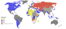 Countries that boycotted the 1976 (yellow), 1980 (blue) and 1984 (red) games