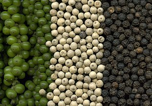 Green, white and black pepper.