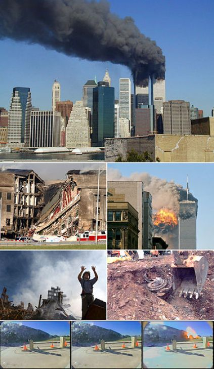 A montage of eight images depicting, from top to bottom, the World Trade Center towers burning, the collapsed section of the Pentagon, the impact explosion in the south tower, a rescue worker standing in front of rubble of the collapsed towers, an excavator unearthing a smashed jet engine, three frames of video depicting airplane hitting the Pentagon.
