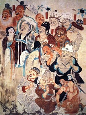 English: People of the Silk Road, Dunhuang, 9t...