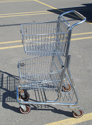 Compact shopping cart with 2 baskets, picture ...