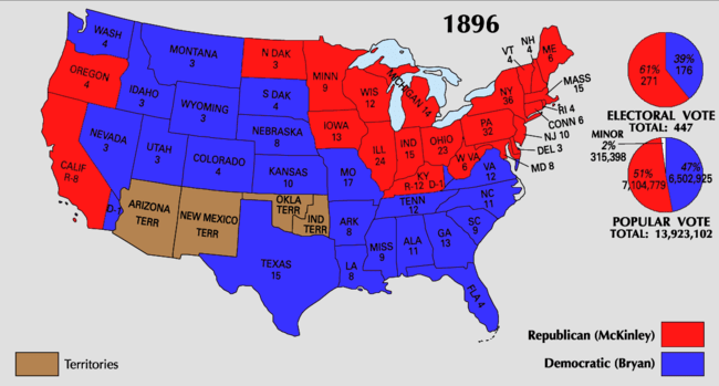 Image result for electoral college map 1896