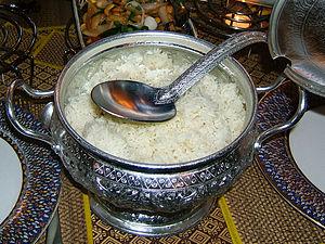 rice serving bowl in a Thai restaurant in Stut...