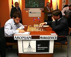 Aronian (blancas) vs. Morozevich (negras)