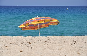 English: A Beach umbrella in Corsica