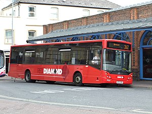 Bus at Worcester bus station, England.