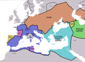 Map of territorial boundaries ca. 450 AD