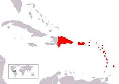A map showing most of the Lesser Antillies in red. Puerto Rico and  Dominican Republic is also red.