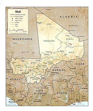 English: Shaded relief map of Mali.