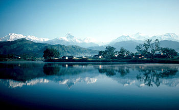 Pokhara and Phewa Lake. In the background all ...