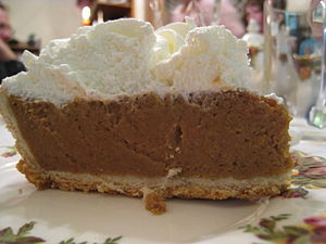 Pumpkin pie with whipped cream topping.