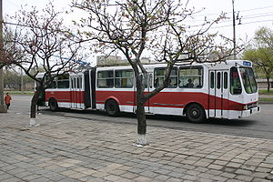 English: Public transport bus in Pyongyang, DP...