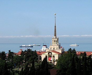 Sochi Sea Port. View from downtown.