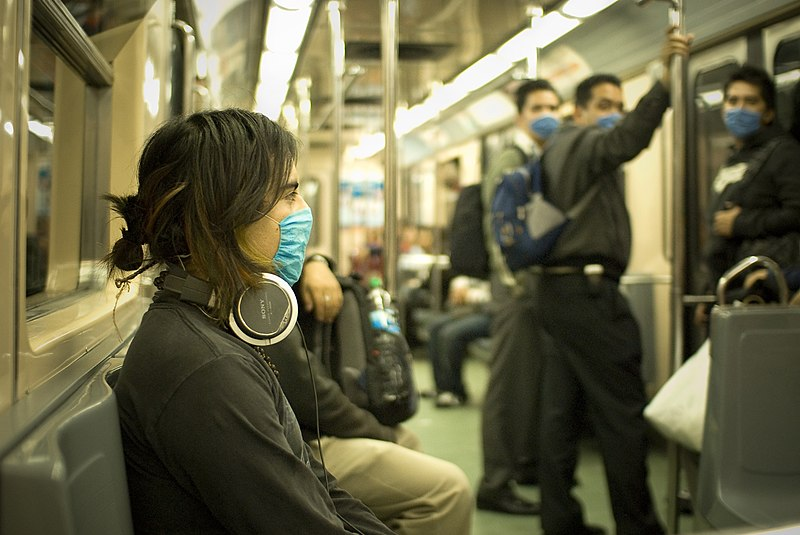 Masks in Mexico City subway
