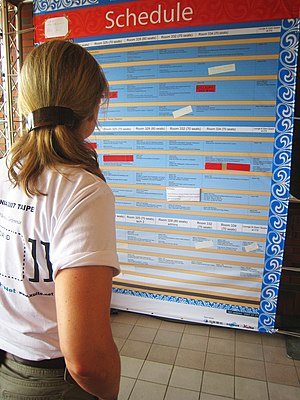 Rebecca MacKinnon checks the schedule.