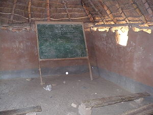 inside of an Zambian school. The room welcome ...