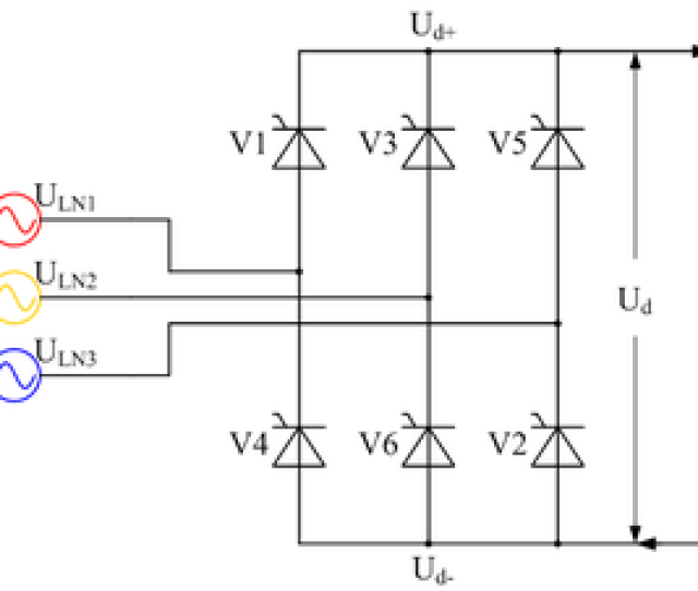 Controlled Three Phase Full Wave Bridge Rectifier Circuit B6c Using Thyristors As The Switching Elements Ignoring Supply Inductance