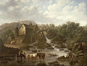 English: River Scene with overshot mill