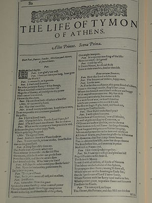 Photo of the first page of Timon of Athens fro...