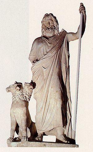 Statue of Hades with Cerberus