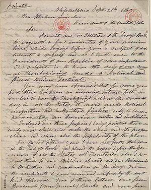 September 1863 letter from editor Sarah Joseph...
