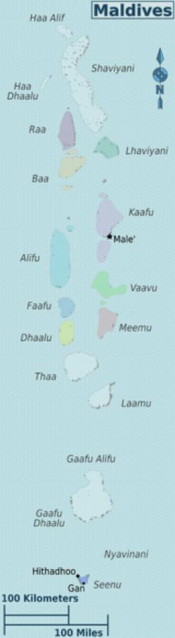 Mapa de Maldivas y dónde queda