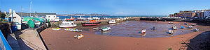 Panoramic photo of Paignton harbour in Devon.